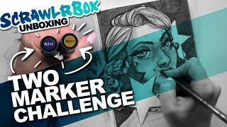 2 Marker Challenges | Scrawlrbox Unboxing | DrawingWiffWaffles