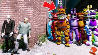 CAN JASON & SLENDER MAN HIDE FROM THE ALL HORROR ANIMATRONICS? (GTA 5 Mods For Kids FNAF RedHatter)