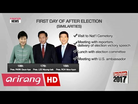 Projection of Korea's president-elect's first day after election