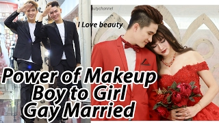 Makeup Transformation Boy To Girl - Makeup Tutorial Gay Married ( Full Video No Edit )