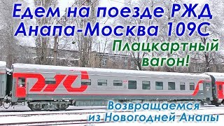 Поезд 109С Анапа Москва РЖД. Едем из Анапы в Москву в плацкартном вагоне зимой. Подробнейший vlog.