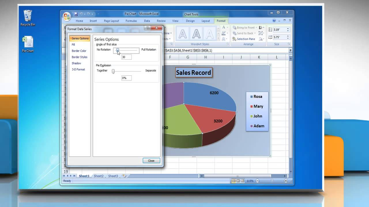 How To Rotate The Slices In A Pie Chart In Excel 2007 Youtube