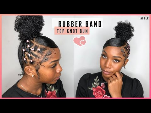 SLEEK TOP KNOT BUN WITH RUBBER BANDS | NATURAL HAIRSTYLES