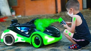 Funny Baby Tema Paints Car Ride on Power Wheel Apple Car Cars video for kids T-Play