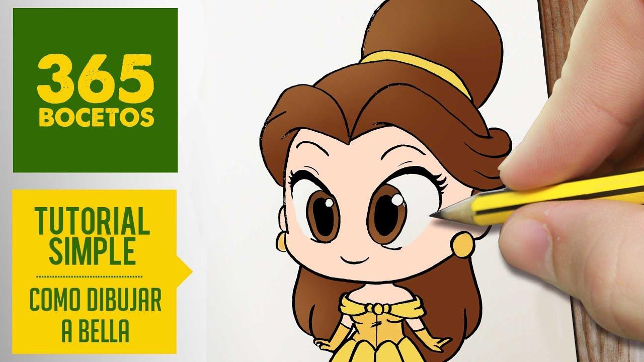 COMO DIBUJAR A BELLA DE LA BELLA Y LA BESTIA Dibujar princesas disney en español , dibujo kawaii , YouTube