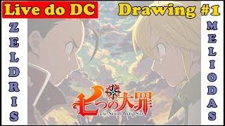 🔴 Desenhando ao Vivo Meliodas x Zeldris Nanatsu no Taizai - Drawing Live #1