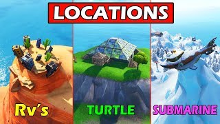 """Dance on top of a Crown of RV's, Metal Turtle & Submarine"" LOCATIONS GUIDE! Fortnite Challenges"