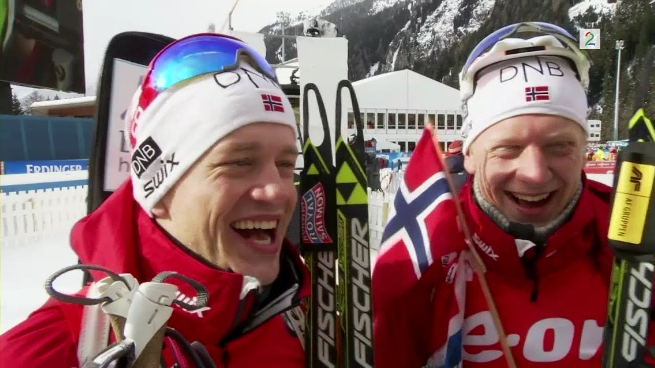 Tarjei Bo And Johannes Thingnes Bo After Victory In Relay Antholz 2015 Youtube