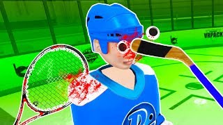 I Tried To Kill Whacky While Playing Hockey and Tennis in First Person Tennis and Hockey Player VR!