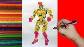 How to draw robot MIDAS, Real Steel, Как нарисовать робота Мидас, Живая Сталь