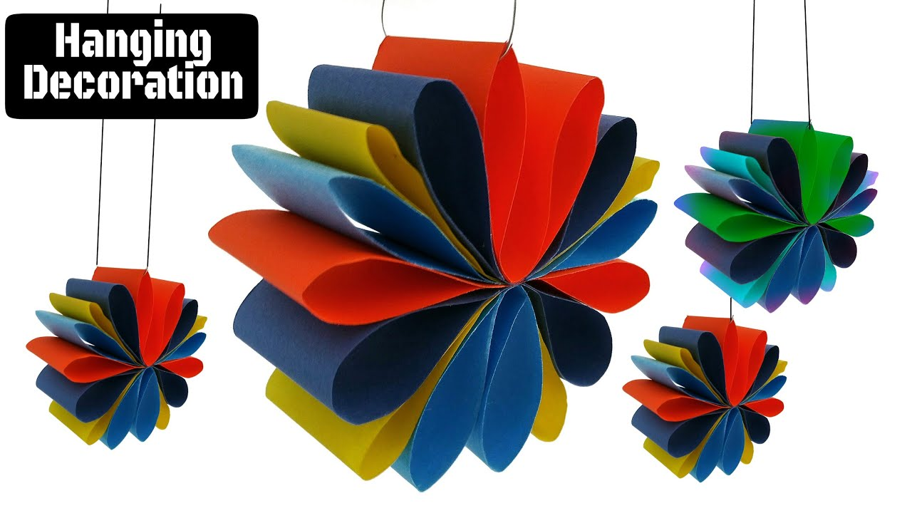 Craft design 3 hanging paper decoration for diwali for Art and craft for diwali decoration