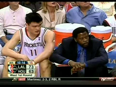 Karl Malone (at age 40) with 30 pts 13reb 3 stls Lakers against Rockets (full game 2004 playoffs)