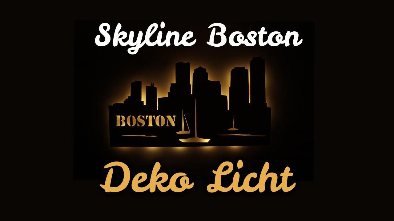 Holz Led Lampe Nachtlicht Geschenkidee Skyline Boston