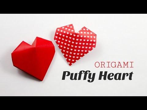 Origami Puffy Heart Instructions - 3D Paper Heart  - DIY - Paper Kawaii