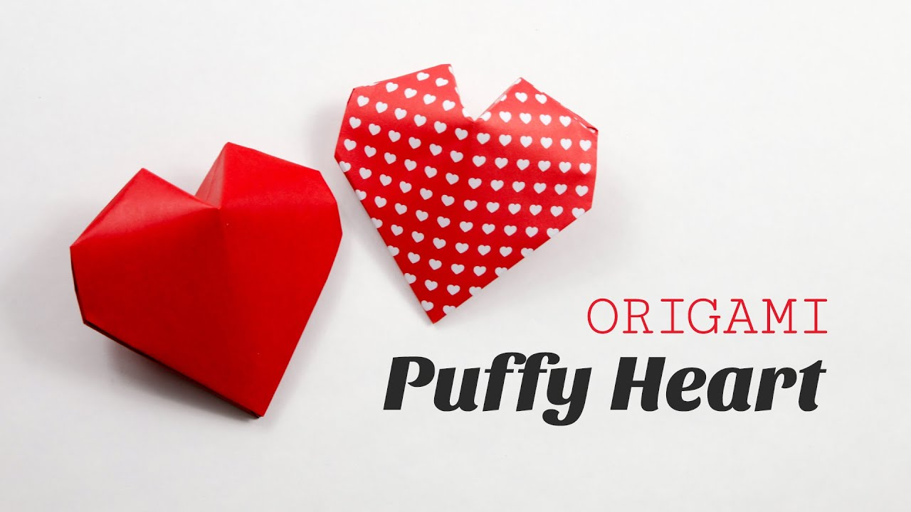 Herz Falten Aus Papier Origami Puffy Heart Instructions 3d Paper Heart Diy