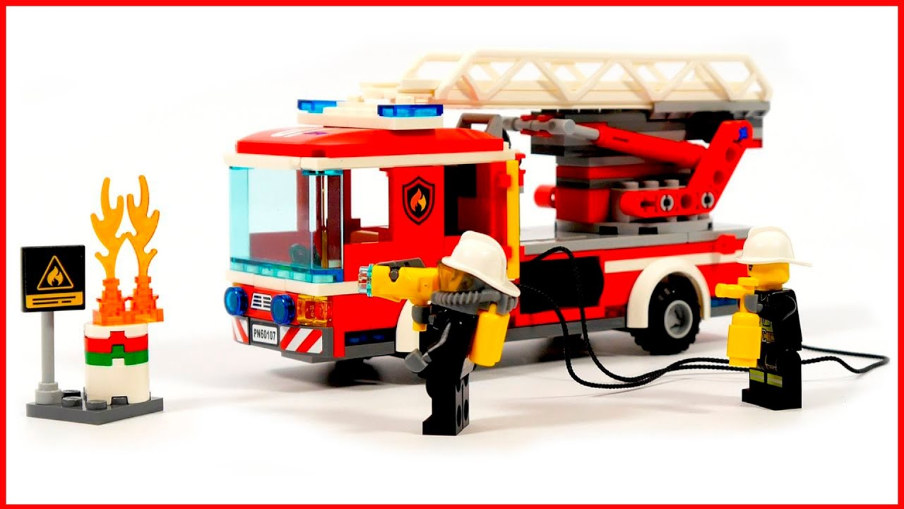 Lego City 60107 Fire Ladder Truck Lego Speed Build Youtube