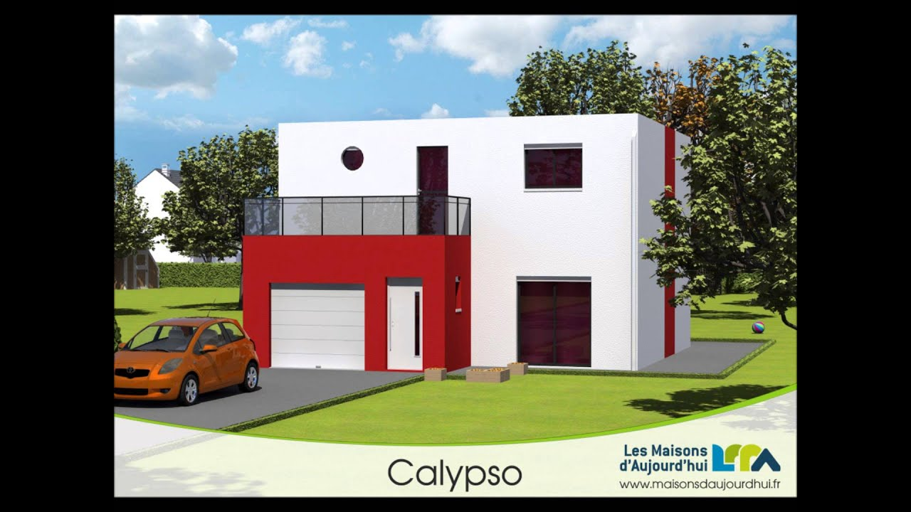 Plan de maison contemporaine cubique bbc calypso les for Plan de maison contemporaine a etage