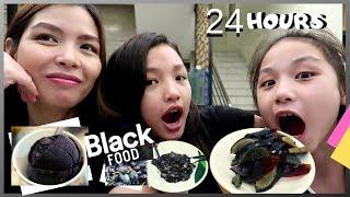 EATING BLACK FOOD FOR 24 HOURS   Black & Dark Maputim ang Nakain!!   Aurea & Alexa
