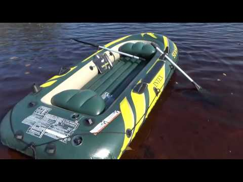 Лодка INTEX SEAHAWK 3 и вёсла.