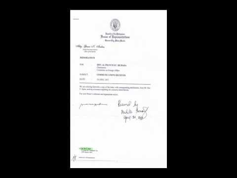 Action Taken by The Philippine House Speaker Re: Letter dated April 16, 2012