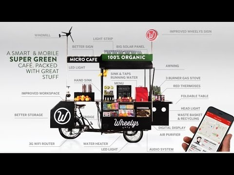 "The Wheelys 4 ""Green Warrior"" a Micro Mobile Cafe with Air Purifier"