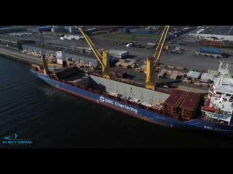 Cargo Ship BBC Aquamarine Being Loaded at the Port of Albany -- Albany NY