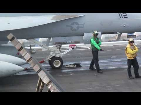 FA-18 Take off - catapult and details USS Eisenhower