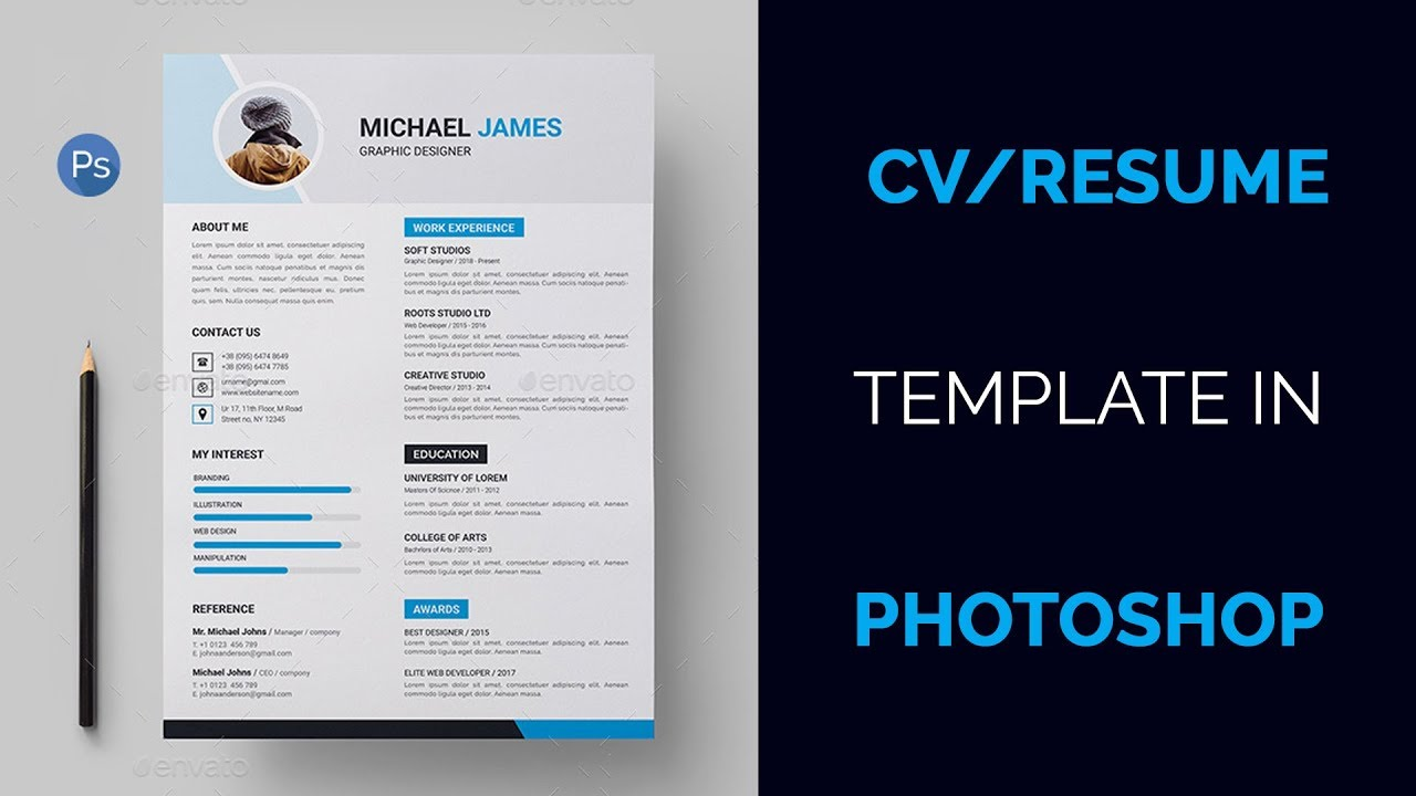 how to create a cv  resume template in photoshop