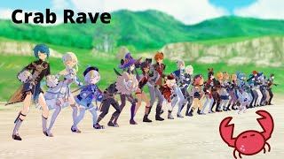 【MMD Genshin Impact】(almost) All character crab rave !!