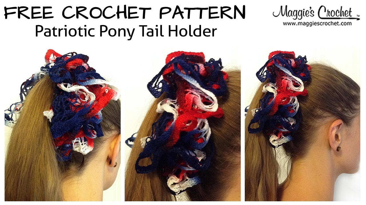 Patriotic Pony Tail Holder Free Crochet Pattern - Right Handed - YouTube