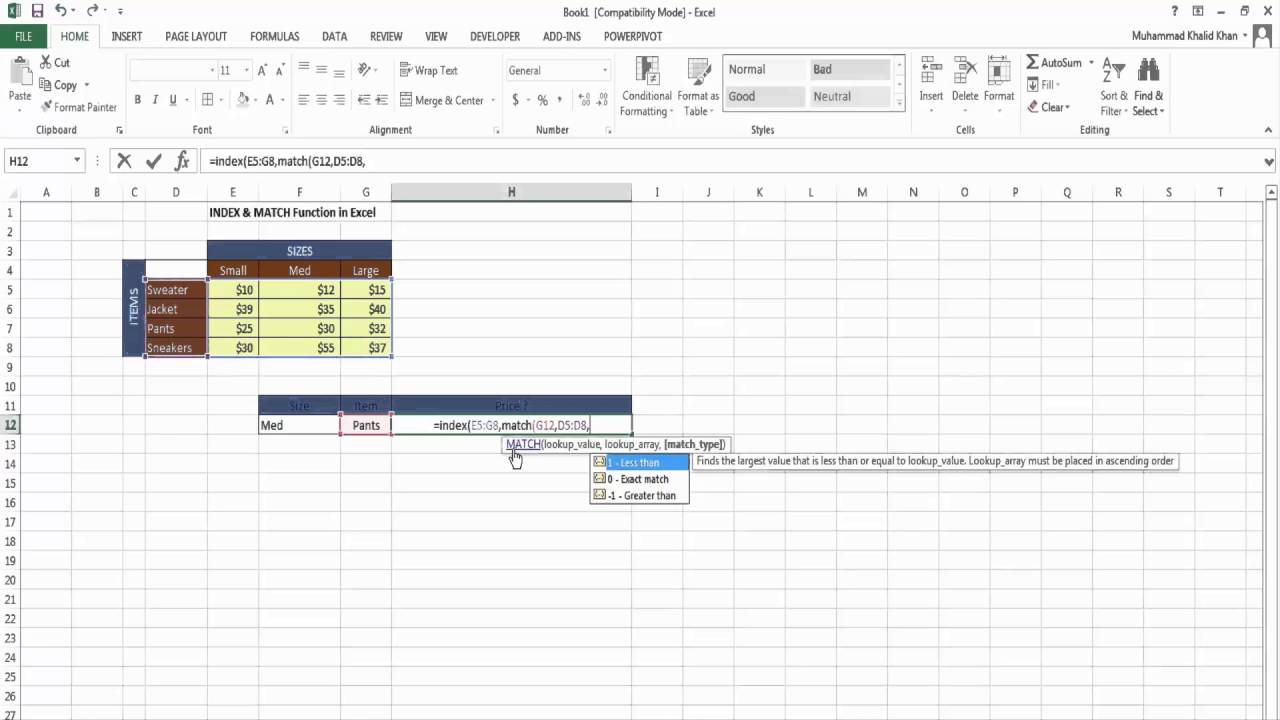 excel match function