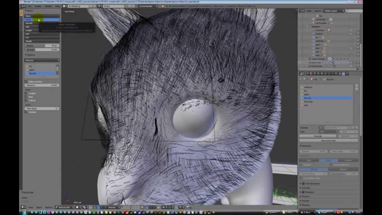 Blender 2 7 fur on cat model