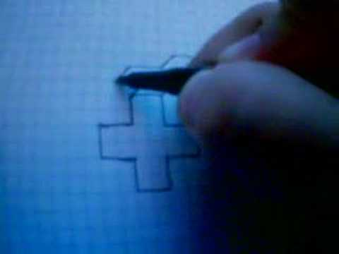 How to draw a 3D plus sign on a graph paper ( slow showings )