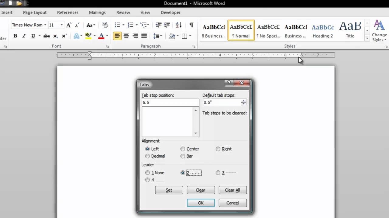 How To Create A Dot Leader Line In Microsoft Word 2010 Youtube