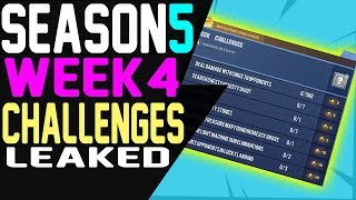 Fortnite WEEK 4 CHALLENGES LEAKED Season 5 ALL 7 Challenges GUIDE Battle Pass Challenges