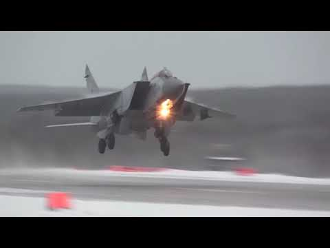 Russian Northern Fleet Mikoyan MiG 31 Fighter Jets Training In Arctic Conditons