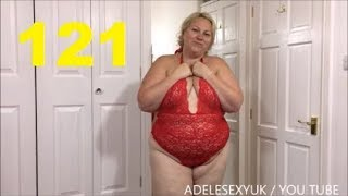 ADELESEXYUK SHOW OFF HER   RED LINGERIE IN HER BEDROOM