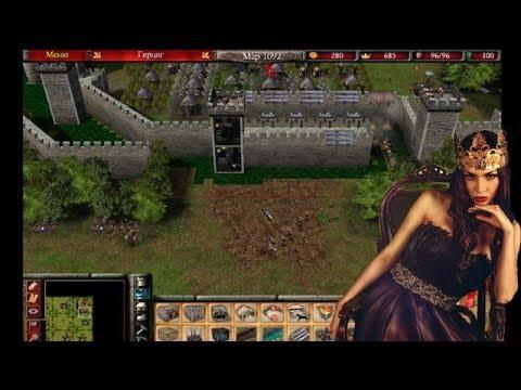 Stronghold 2. В одиночку против семи королев. Грамотная игра.