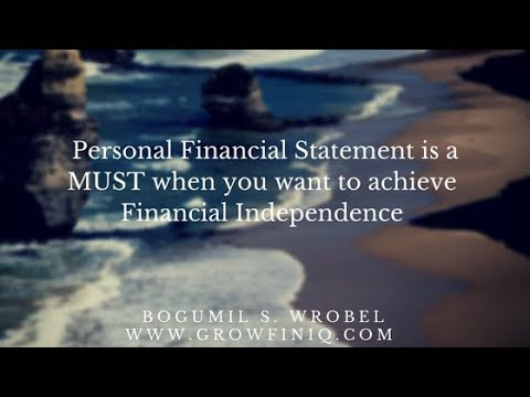Personal Financial Statement designed for Financial Independence
