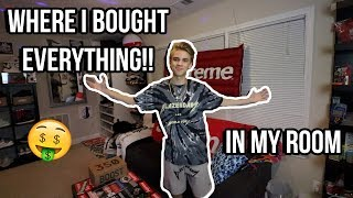 WHERE I BOUGHT EVERYTHING IN MY ROOM! (Hypebeast Heaven Room Tour)