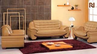Contemporary Camel Leather Living Room Set Vgev7174-2