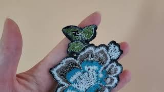 부자마켓 블루 꽃 자수 와펜 DIY 리폼 의류 패치