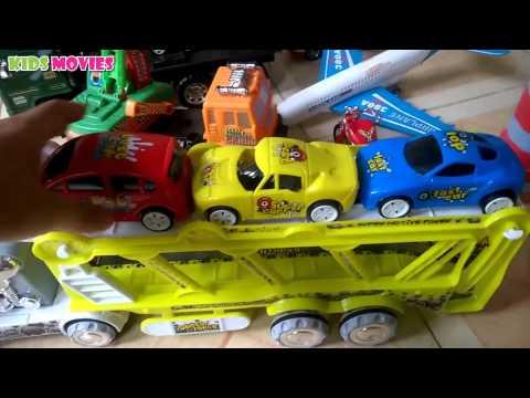 Xe container, xe ô tô đồ chơi, máy bay , xe tăng, Container trucks, toy cars, planes by Kid Rio