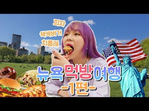 (CC) New York Mukbang Trip #1 - Shake Shack+Chipotle+Pizza Time Square, Statue of Liberty