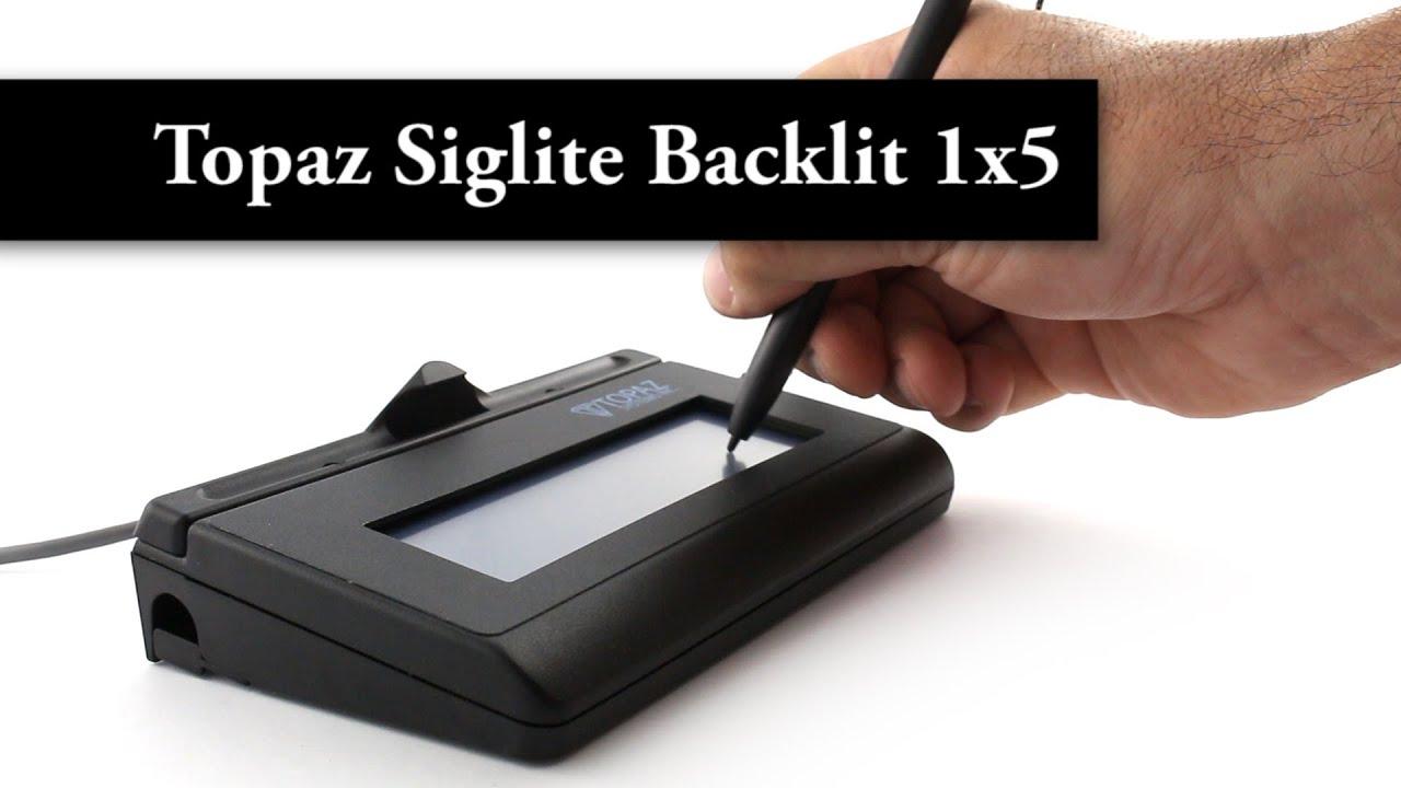 Topaz SigLite LCD Backlit 1x5 - USB - Signature Pad