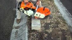 serrucho stihl TS400 cortando concreto punta diamante