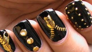 Biker Studded Nails | Water Decals | Zipper Nail Art Designs
