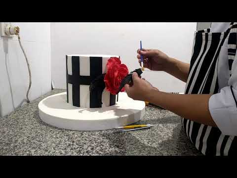 Scan Beautiful Lady with Red Rose Birthday Cake
