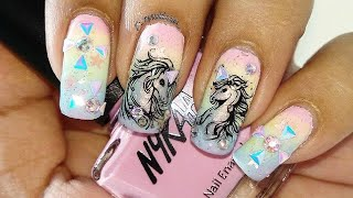 Unicorn Nail Art Tutorial!!! BornPretty Store Chameleon Pyramid Studs Review!!!