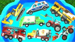 تعلّم مركبات الشوارع للأطفال سيارة المطافئ، حفّارة، سيارة شرطة لعبة فيدي (اللعب بالماء)